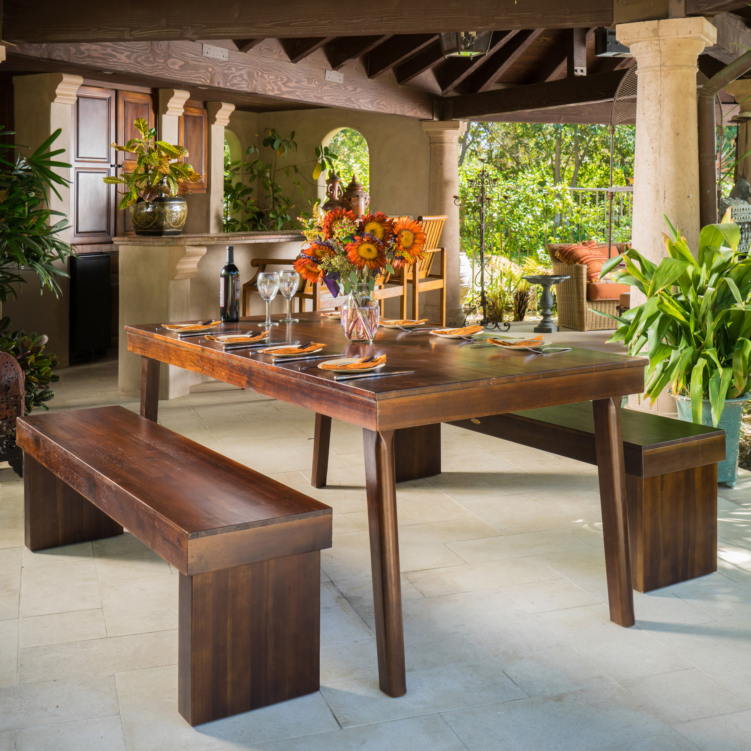 Fairway 3 Piece Wood Table and Bench Set