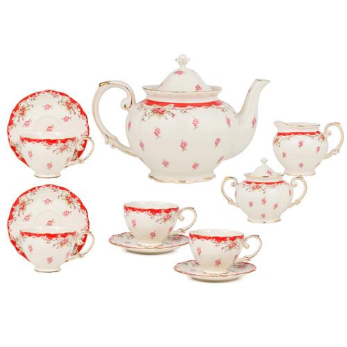 Grace's Tea Ware 11 Piece Porcelain Vintage Rose Red Tea Set