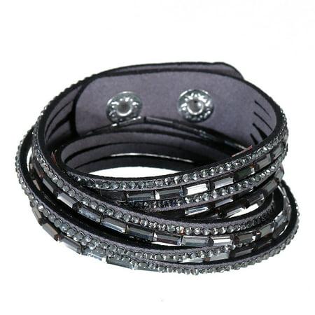 Sexy Sparkles Suede Velvet Multi Layer Wrap Women Teen Girls Bracelet with Rhinestones Gray Slake Button Clamp