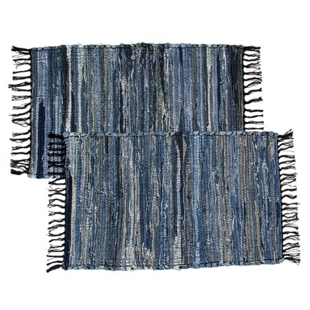 2 Denim Chindi Doorway Rag Rugs 100% Cotton Recycled Blue Jean Entryway Woven -
