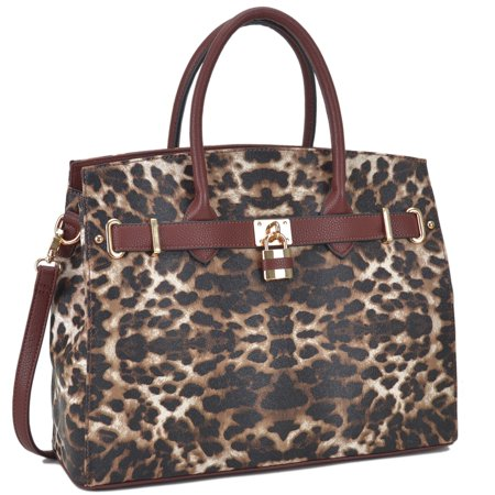 Dasein  Faux Leather Leopard Padlock Work Satchel Handbag