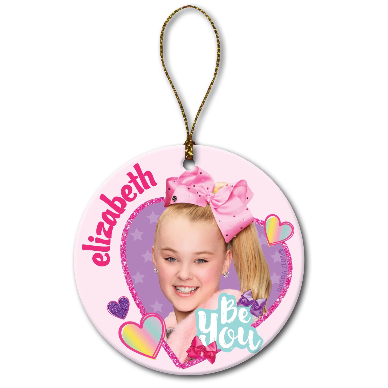 Personalized Round Christmas Ornament - JoJo Siwa