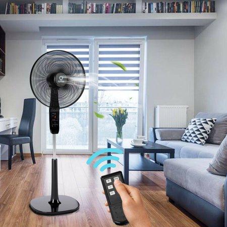 16'' Oscillating Pedestal Fan 2 Mode Adjustable Remote Control 2 Blades - image 2 of 10