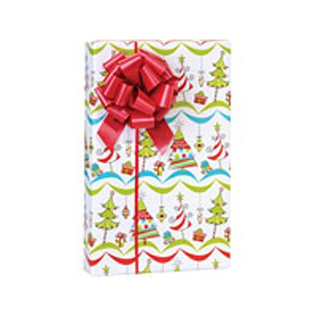 - Red Blue and Green Merry Trees Holiday /Christmas Gift Wrapping Paper 16ft