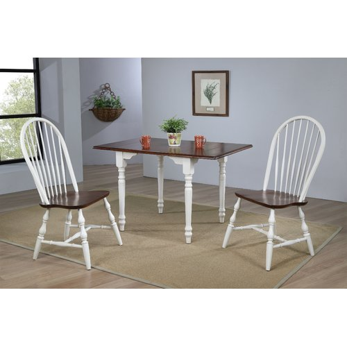 August Grove Kenya 3 Piece Drop Leaf Solid Wood Dining Set