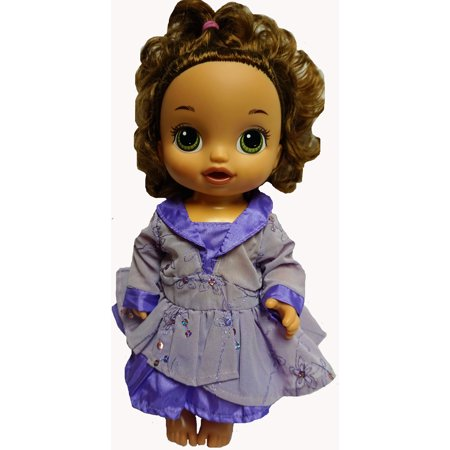 Fancy Purple Party Dress Fits Baby Alive And Little Baby Dolls - Fancy Toddler Christmas Dresses