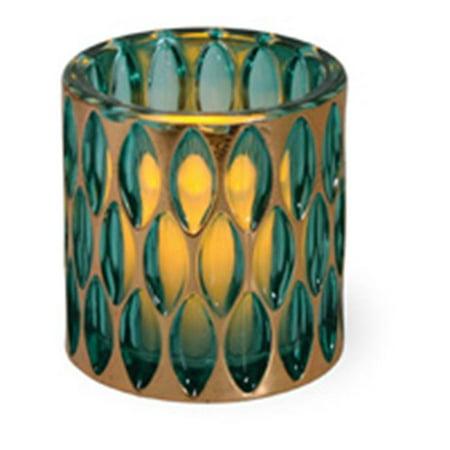 2 Emerald Gloss - Boston International YHF17592 Indian Summer Glass Tea Light Emerald - Pack Of 2