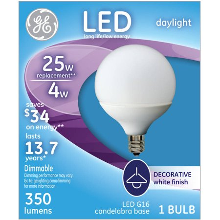Ge 25 Watt Equivalent  Uses 4 Watts  Daylight Frost G16 5 Small Base Led Decorative Globe  1 Pack