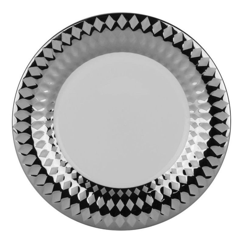 10 Strawberry Street Cairo Salad Dessert Plate in Silver (Set of 6)