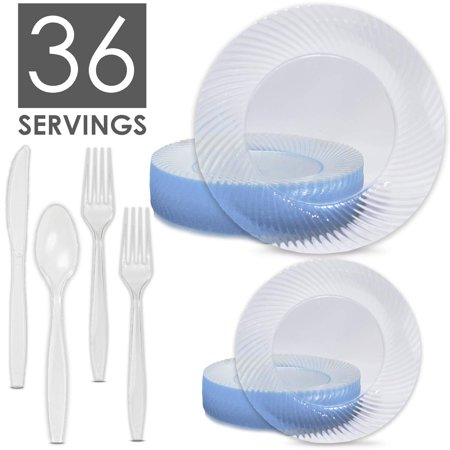 Crystal Clear Disposable Dinnerware Set, 36 Servings - Dinner Plates, Dessert/Appetizer Plates, Cutlery (Spoons, Knives, 2X Forks) - Wave Design on Rim, Heavyweight, Silverware Strong for Any Food …