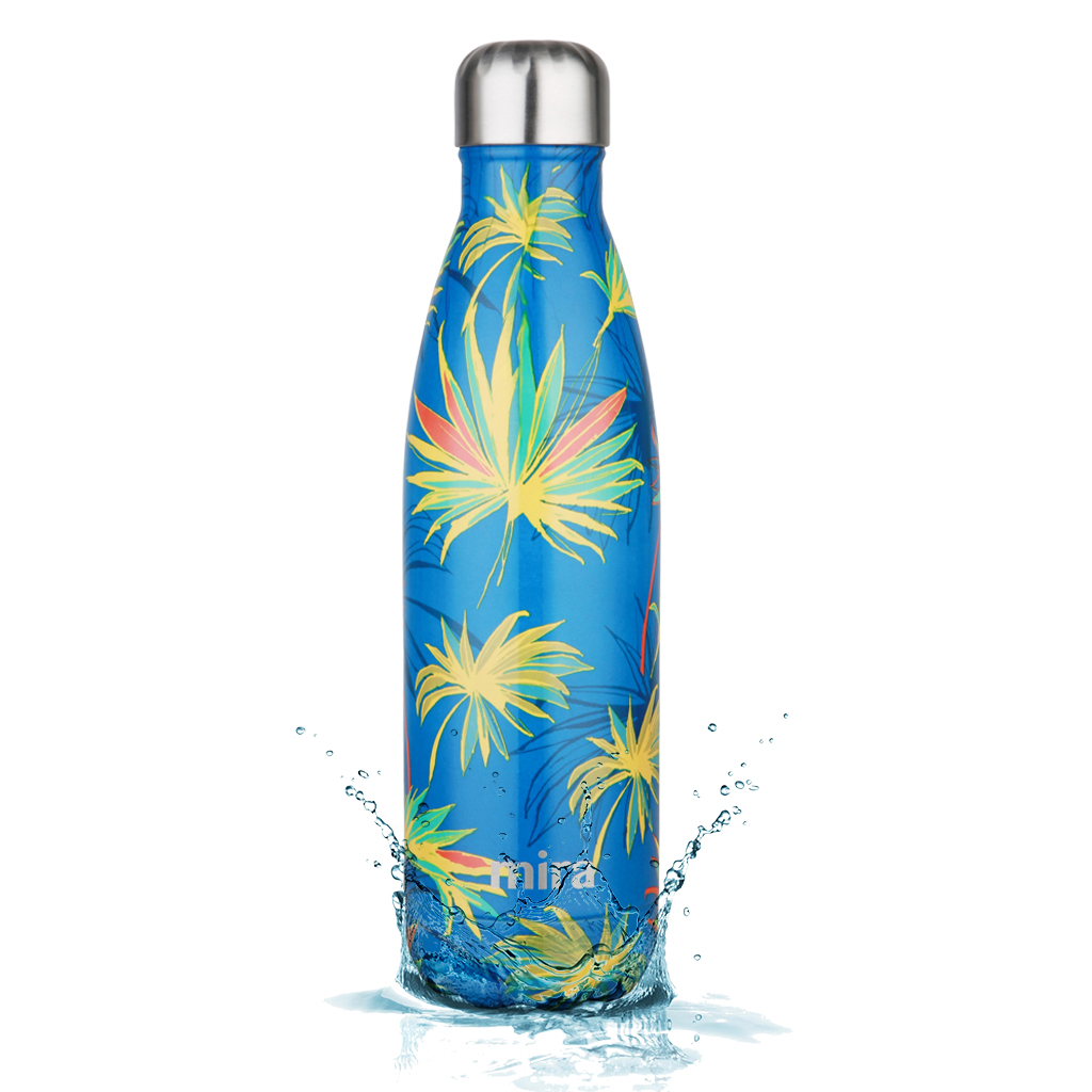 MIRA Vacuum Insulated Travel Water Bottle | Leak-proof Double Walled Stainless Steel Cola Shape Portable Water Bottle | No Sweating, Keeps Your Drink Hot & Cold | 17 Oz (500 ml) | Blue Palm