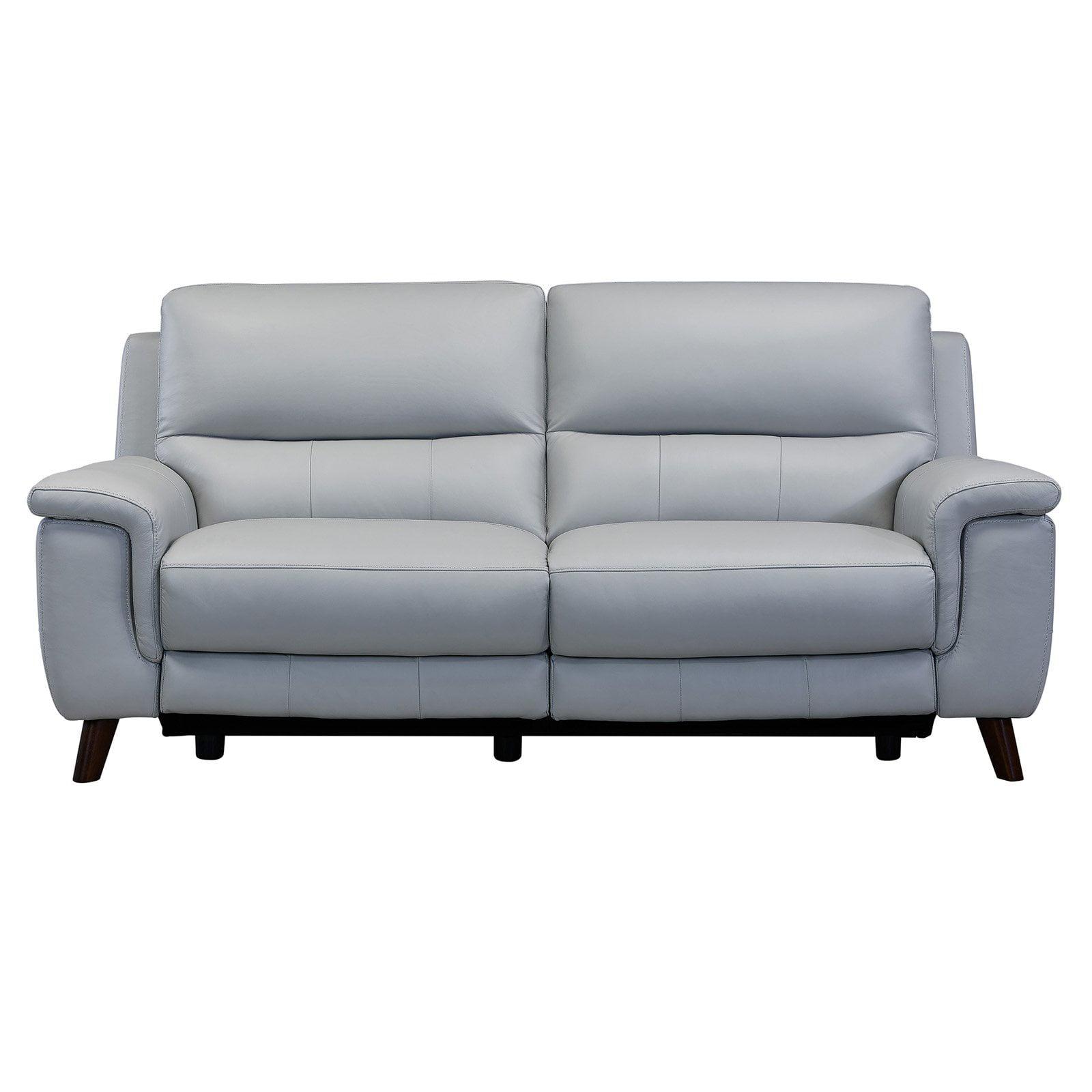 Lizette Contemporary Top Grain Leather Dove Grey Power Recliner Sofa With Usb Walmart Com