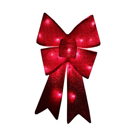 28 red sparkly lighted christmas bow decoration red lights