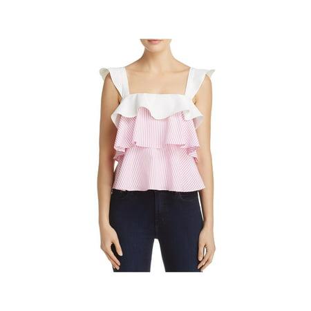 Cotton Stripe Ruffle Shirt - Lucy Paris Womens Striped Ruffled Tank Top