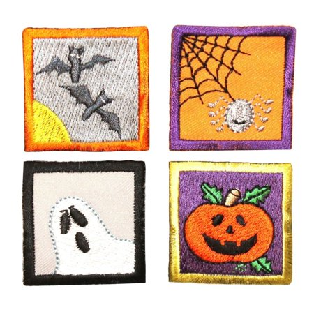 ID 0838A-D Set of 4 Halloween Badge Patches Scene Embroidered Iron On Applique (Et Scene Halloween)