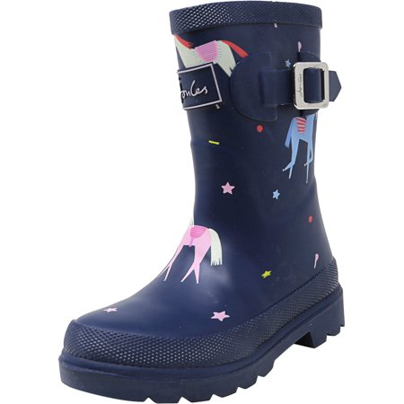 Joules Junior Welly Print Blue Unicorn Mid-Calf Rain Shoe - 10M