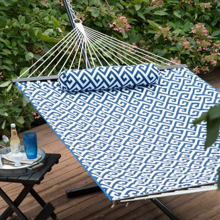 Coral Coast 11-ft. Greek Key Quilted Hammock with Metal Stand Deluxe - Quilted Metal
