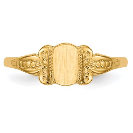 14K Yellow Gold Childs Signet Ring - image 2 de 5