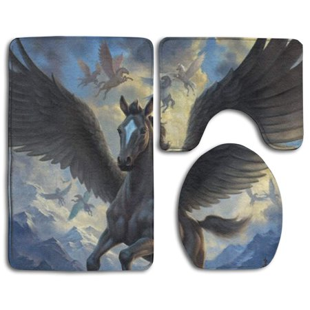 EREHome Pegasus 3 Piece Bathroom Rugs Set Bath Rug Contour Mat and Toilet Lid Cover - image 1 of 2