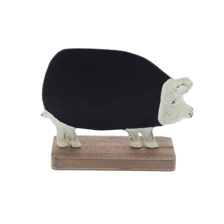 Decmode Farmhouse 6 X 7 Inch Distressed Metal And Fir Wood Pig Chalkboard,