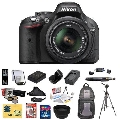 Nikon D5200 Digital SLR Camera & 18-55mm G VR DX AF-S Zoom Lens (Black) With 32GB Memory Card, Reader, EN-EL14 Battery, Charger, 5 PC Filter, Remote, Nikon Case, Tripod, DVD, $50 Gift Card! & More