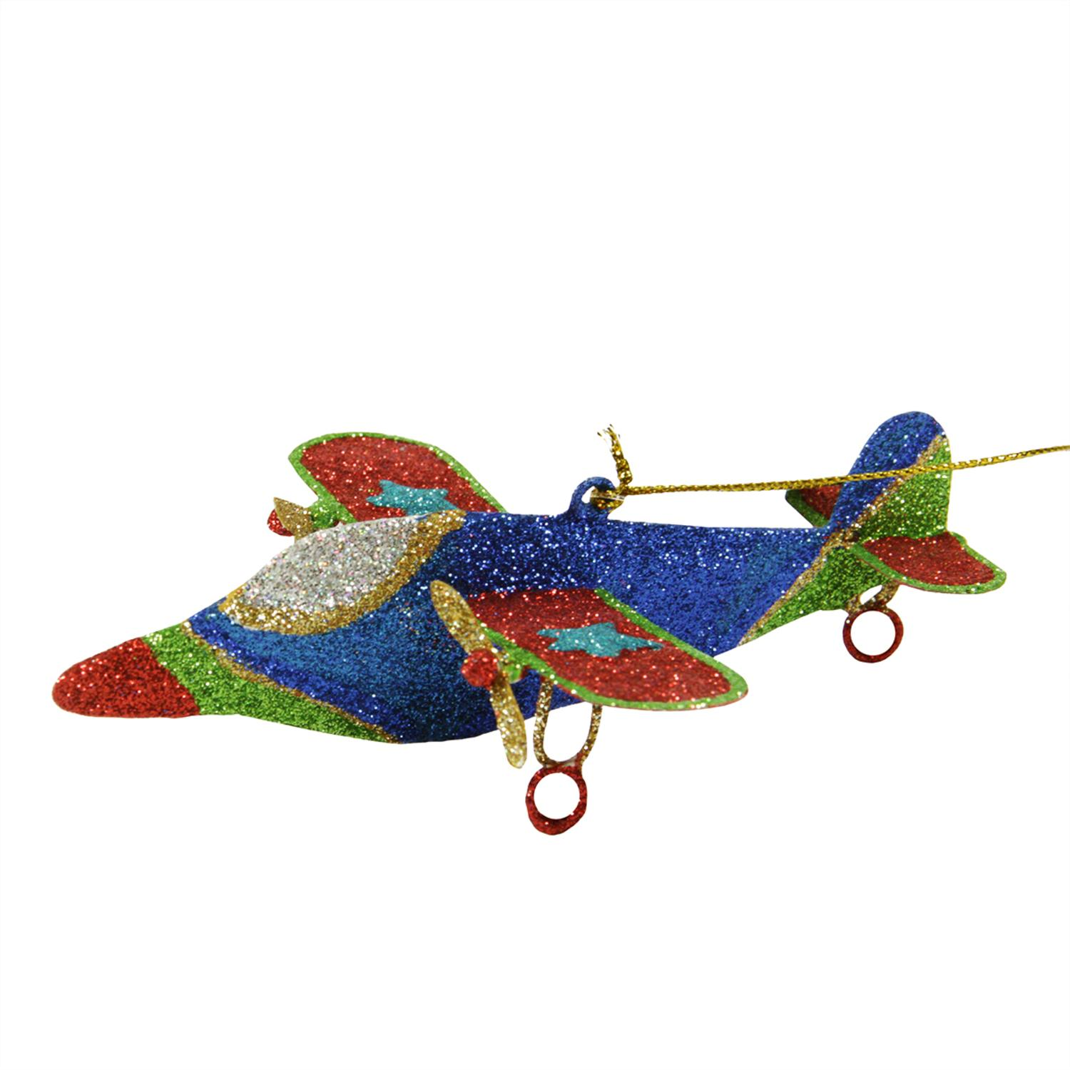 "5"" Glitter Drenched Star Accented Dual Propeller Airplane Christmas Ornament"