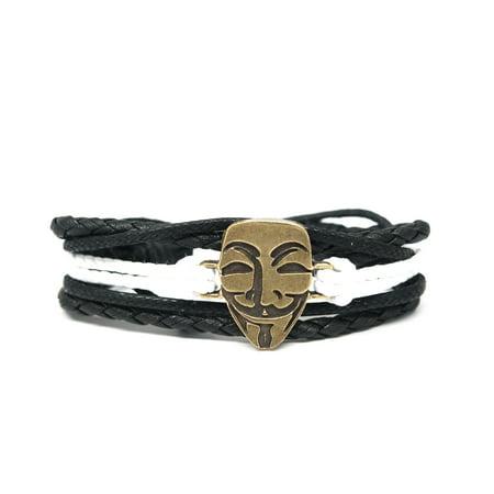 V for Vendetta Mask Rope and Leather Adjustable Unisex Charm Bracelet