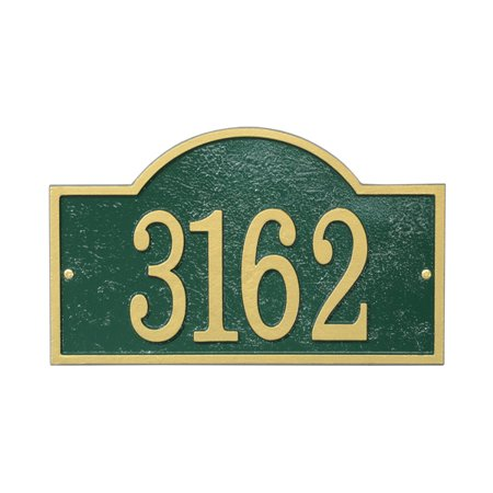 Personalized Whitehall Products Fast & Easy Arch House Numbers Plaque in Green/Gold (Whitehall Products Satin)