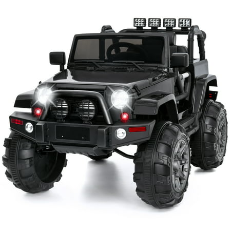 Best Choice Products 12V Kids Electric Battry-Powered Ride-On Truck Car RC Toy w/ Remote Control, 3 Speeds, Spring Suspension, LED Lights, AUX - Black](Power Wheels Ages 8 Up)