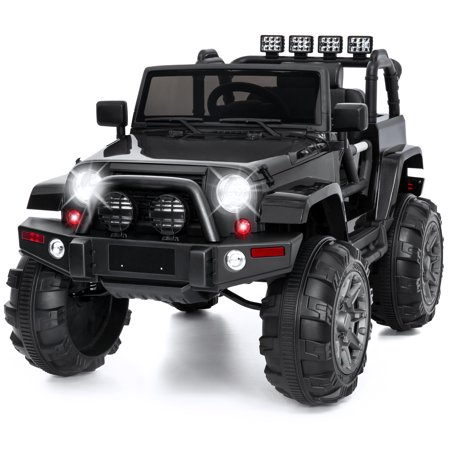 12V Kids Electric Battry-Powered Ride-On Truck Car RC Toy w/ Remote Control, 3 Speeds, Spring Suspension, LED Lights, AUX - Black