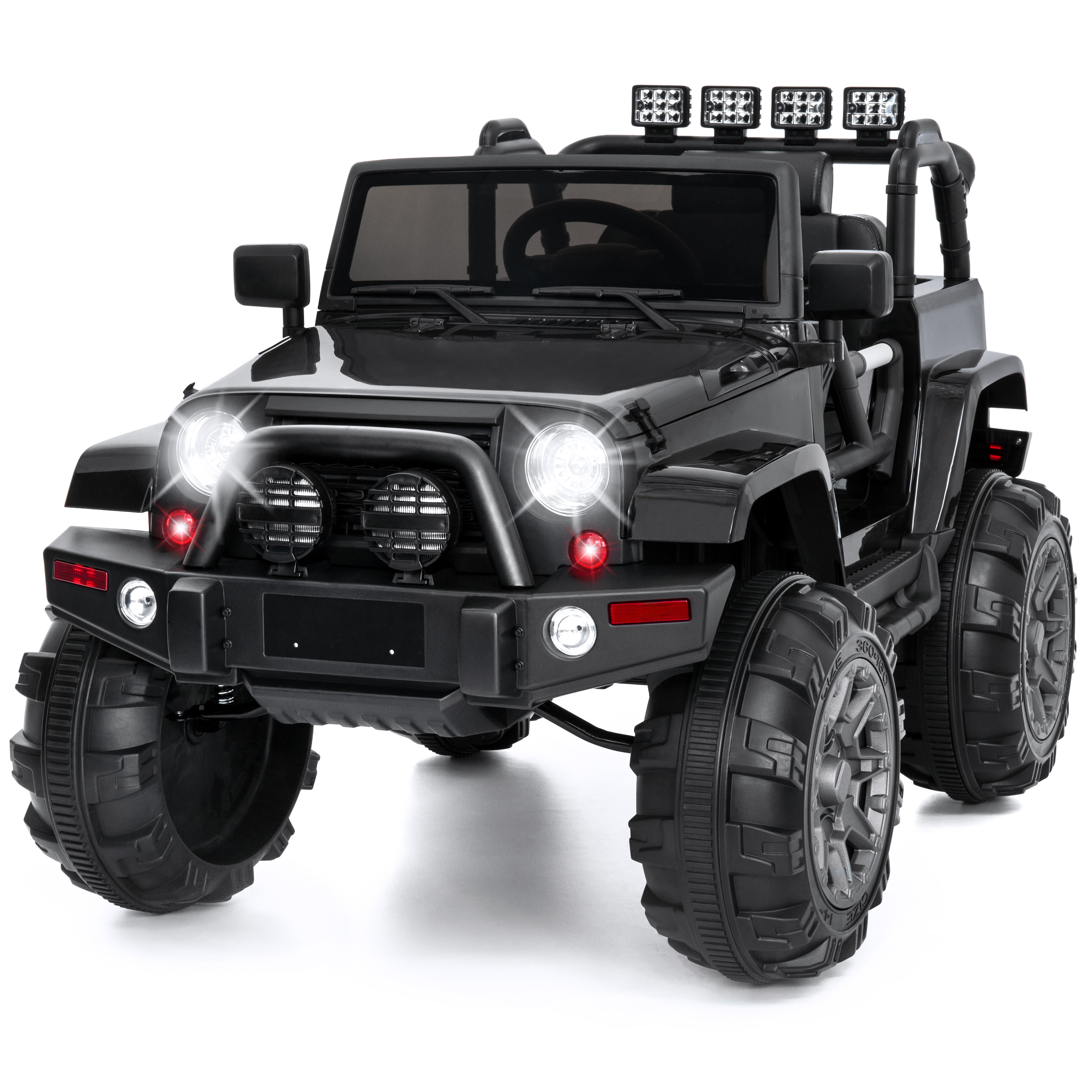 Best Choice Products 12V Kids Powered RC Ride-On Truck Car w/ Remote Control, 3 Speeds, Spring Suspension, LED Lights, AUX - Black