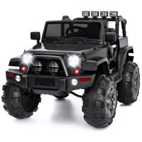 Best Choice Products 12V Kids Electric Battry-Powered Ride-On Truck Car RC Toy w/ Remote Control, 3 Speeds, Spring Suspension, LED Lights, AUX - Black