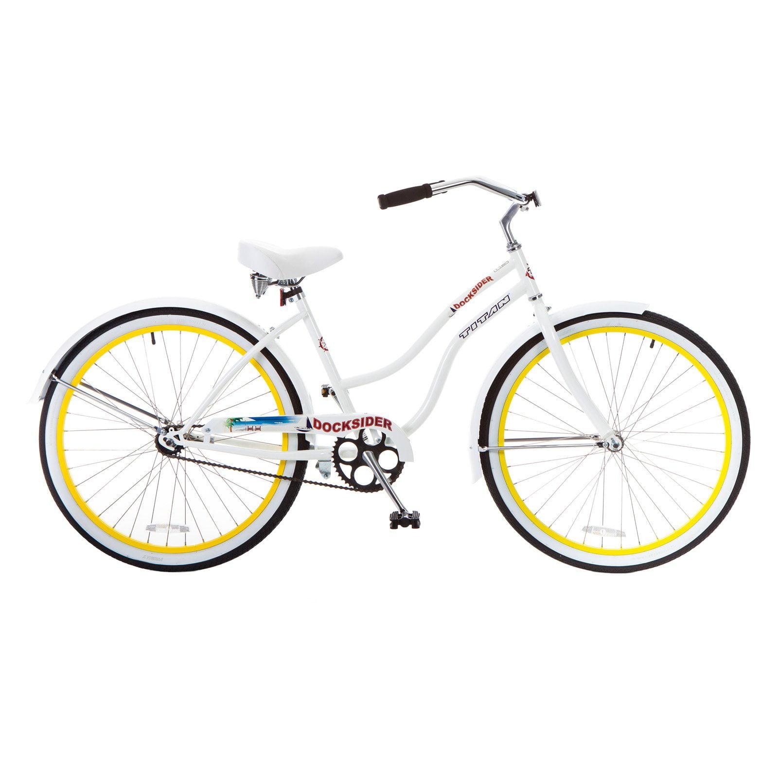 "TITAN Docksider Women's Beach Cruiser Single-Speed Bicycle, 17"" Frame, 26"" Wheels, Yellow Wheels"