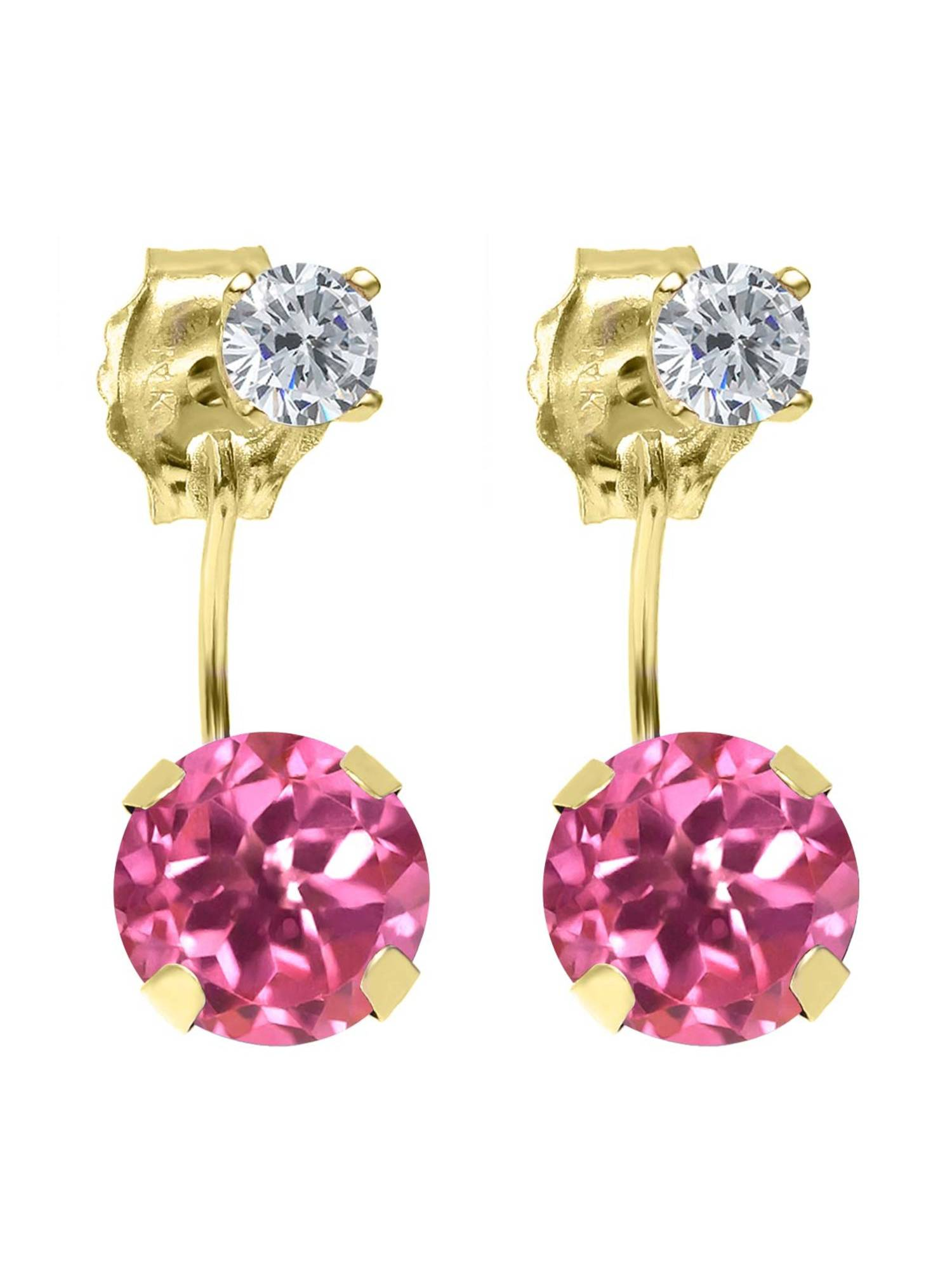 2.24 Ct Round Pink Mystic Topaz G H Diamond 14K Yellow Gold Earrings by