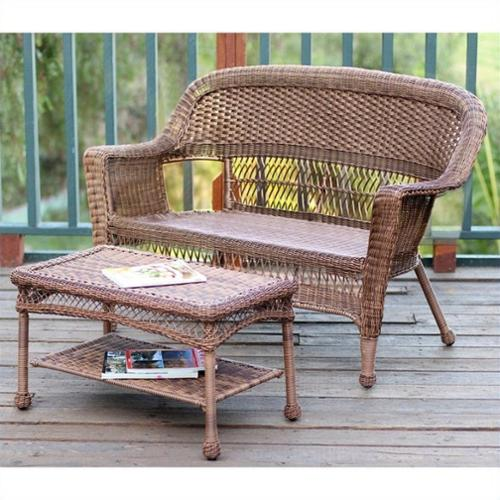 Jeco Wicker Patio Love Seat and Coffee Table Set in Honey without Cushion