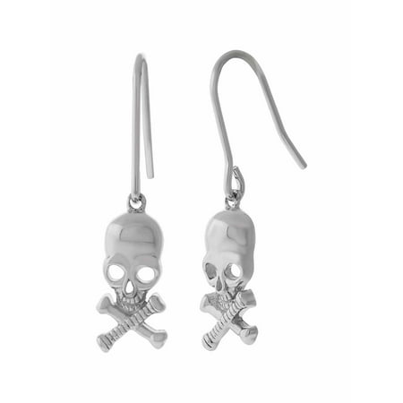 Rhodium over Sterling Silver Skull 1
