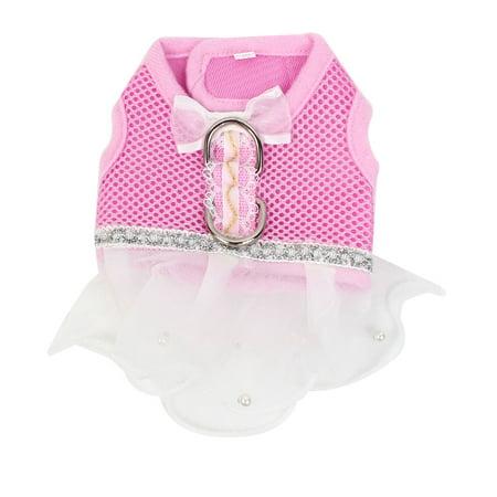 Unique Bargains Pet Dog Poodle Bowtie Accent Meshy Style Dress Apparel Skirt Pink White Size
