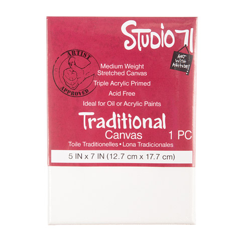 Traditional Stretched Canvas Darice Studio 71 Medium Weight 5 by 5 inch Primed