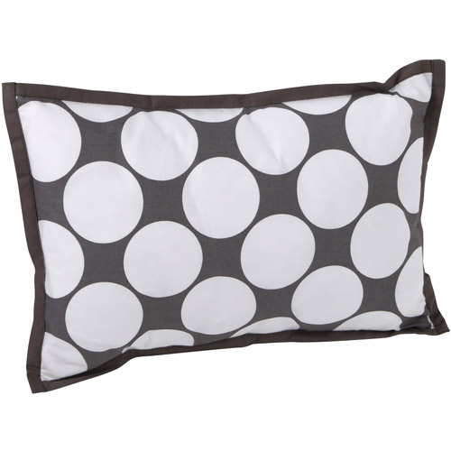 "Bacati Dots/Pin Stripes Dec Pillow 12""x16"" with removable 100 % Cotton cover and polyfilled pillow insert, Gray/Yellow"