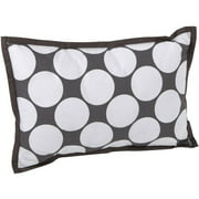 Bacati - Dots/Pin Stripes Dec Pillow 12 x 16 inches with removable 100% Cotton cover and polyfilled pillow insert, Gray/Yellow