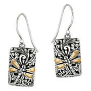 Phillip Gavriel 18k Gold & Sterling Silver Dragonfly Zen Fancy Earrings