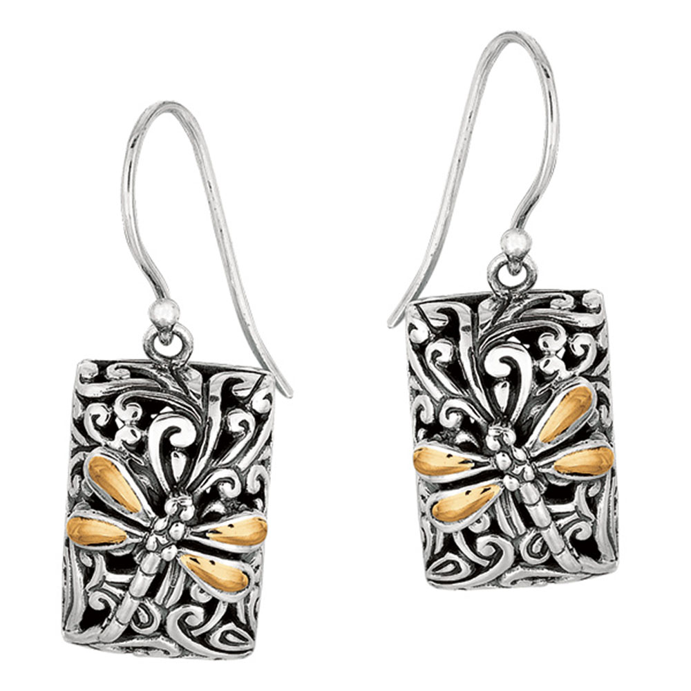 Phillip Gavriel 18k Gold & Sterling Silver Dragonfly Zen Fancy Earrings
