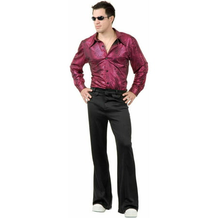 Disco Shirt Liquid Red and Black Men's Adult Halloween Costume (Mens Disco Suit)