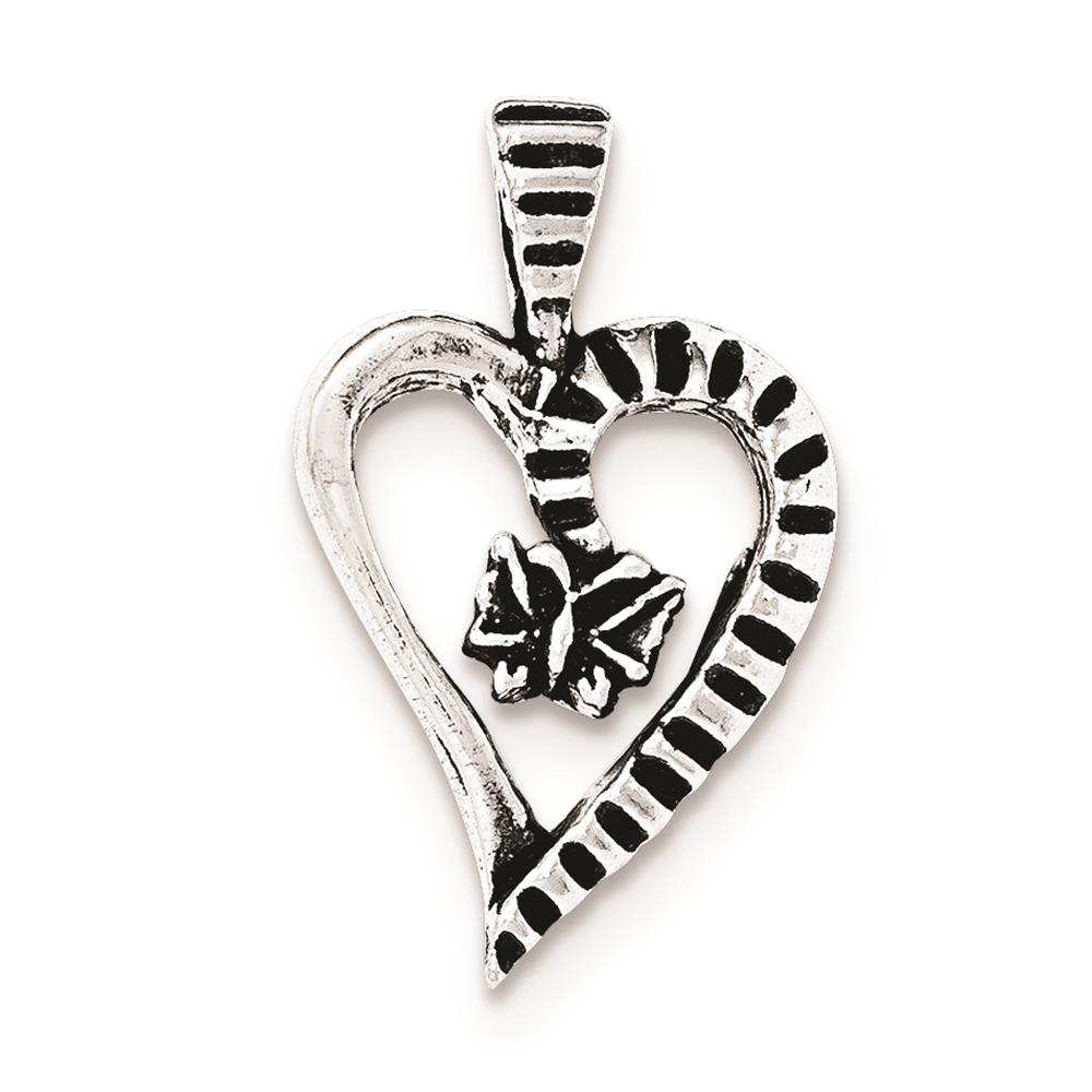 925 Sterling Silver Antiqued & Textured Cut-Out Heart Butterfly Charm Pendant