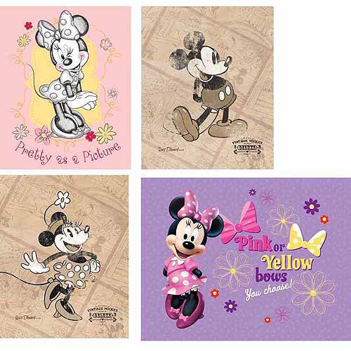 Disney Mickie Mouse Wall Art, Set of 4
