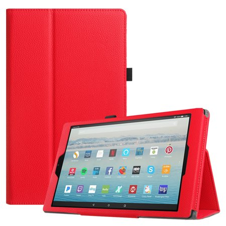 Fintie Folio Case for Amazon Fire HD 10 Tablet (7th Gen, 2017 ) - Slim Fit PU Leather Stand Cover, Red