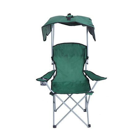 KARMAS PRODUCT Canopy Camping Fishing Beach Chair Folding Durable Sunscreen Outdoor Patio Lawn Seat with Cup Holder, Green
