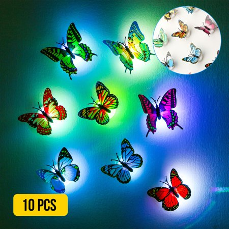 10 Pcs Wall Stickers 3D Butterfly LED Lights Wall Stickers Colorful Light 3D Simulation butterfly Luminous Wall stickers House Kid Bedroom Decoration