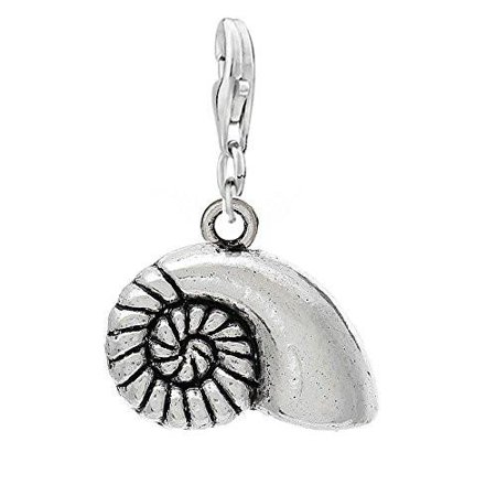 Spiral Charm (Spiral Shell Clip On For Bracelet Charm Pendant for European Charm Jewelry w/ Lobster)