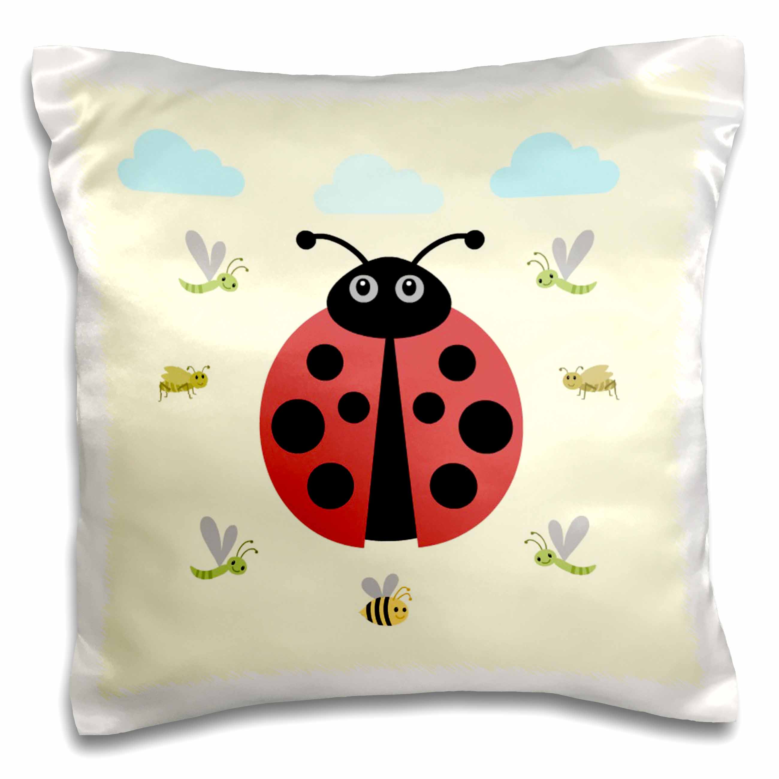3dRose Ladybug design, kids room, decoration, yellow , Pillow Case, 16 by 16-inch